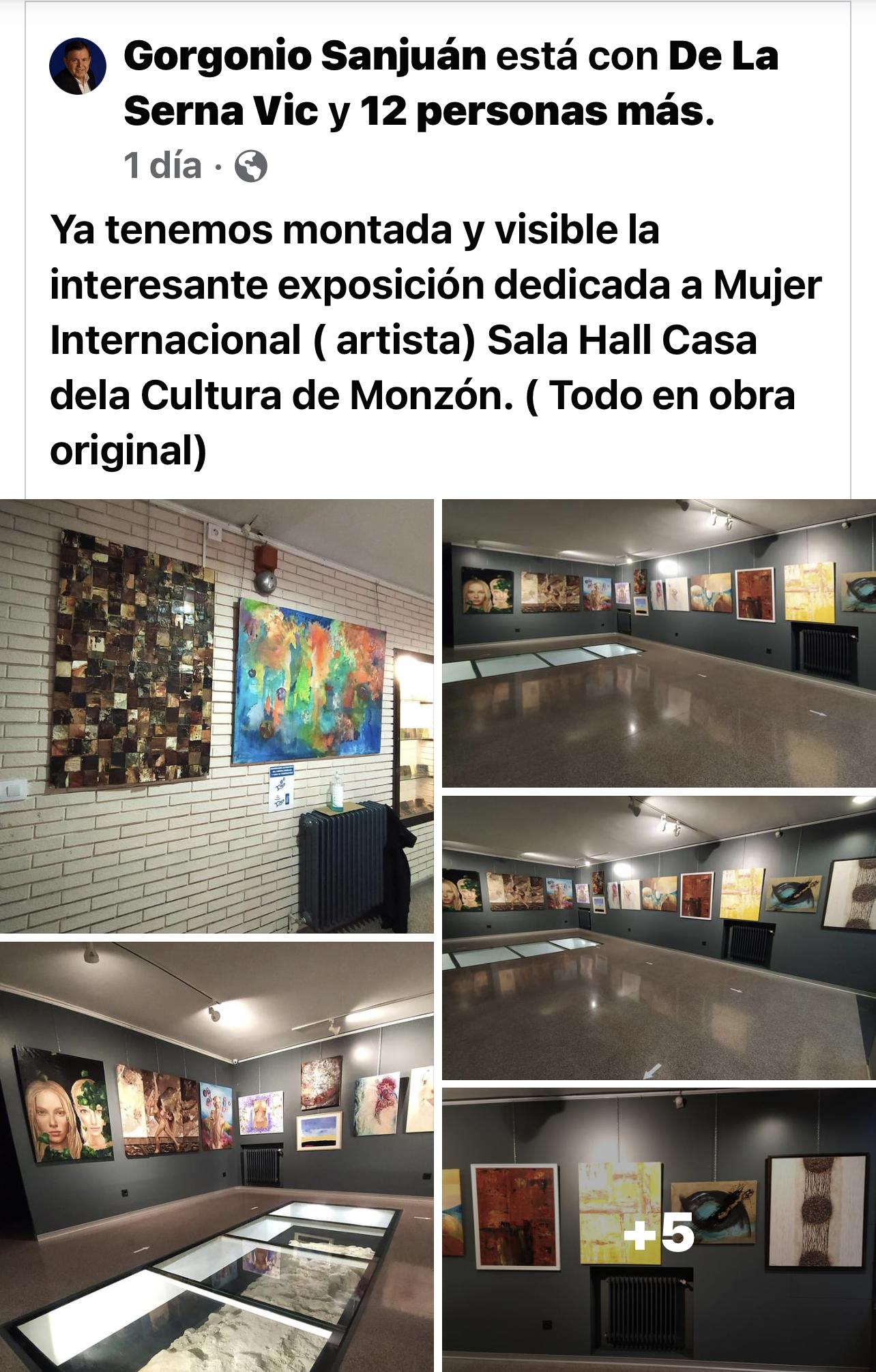Exposición a Mujer Internacional, Sala Hall Casa de la Cultura Monzón